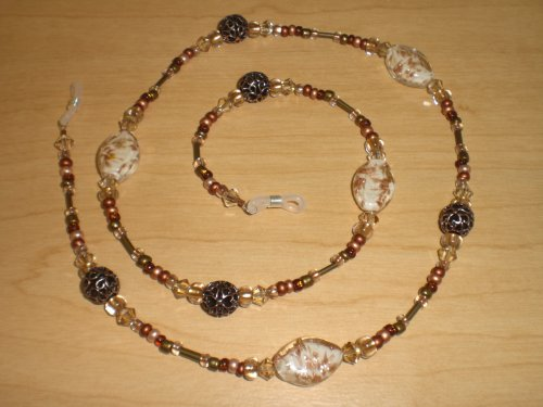 Golden Austrian Crystal Copper Mix Eyeglass Chain - Copper Crystal Bicone