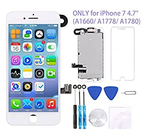 """for iPhone 7 Screen Replacement White 4.7"""" LCD Display 3D Touch Digitizer Frame Assembly Full Repair Kit, with Proximity Sensor, Earpiece Speaker, Front Camera, Free Screen Protector, Repair Tools"""