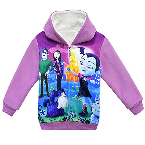 Pnfly Vampirina Girls' Zip-up Hoodies Fleece Warm Winter Outwear Jackets Purple