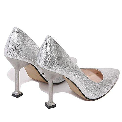 Talons Argent 44 NVXIE Mode Pointu 35 Cheville de Pompes Chaussures Pied EUR39UK665 Robe Rouge Stylet Tribunal Doigt Femmes SILVER Fête Haute Grand Taille gqwrgvp7