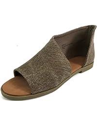 Women's Faux Leather Asymmetrical Sandal Open Toe Half D'Orsay Flats Heel