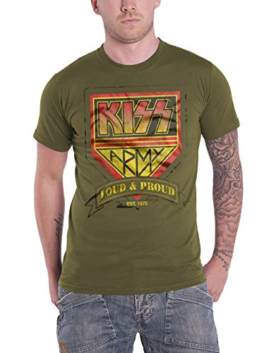 KISS T Shirt Army Distressed Band Logo Official Mens Dark Green Size L