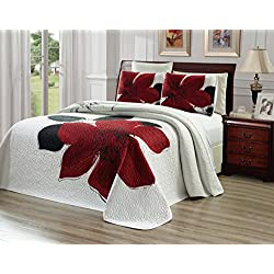 "3-Piece Fine printed Oversize (115"" X 95"") Quilt Set Reversible Bedspread Coverlet KING / CAL KING SIZE Bed Cover (Burgundy Red, Black, White, Floral)"