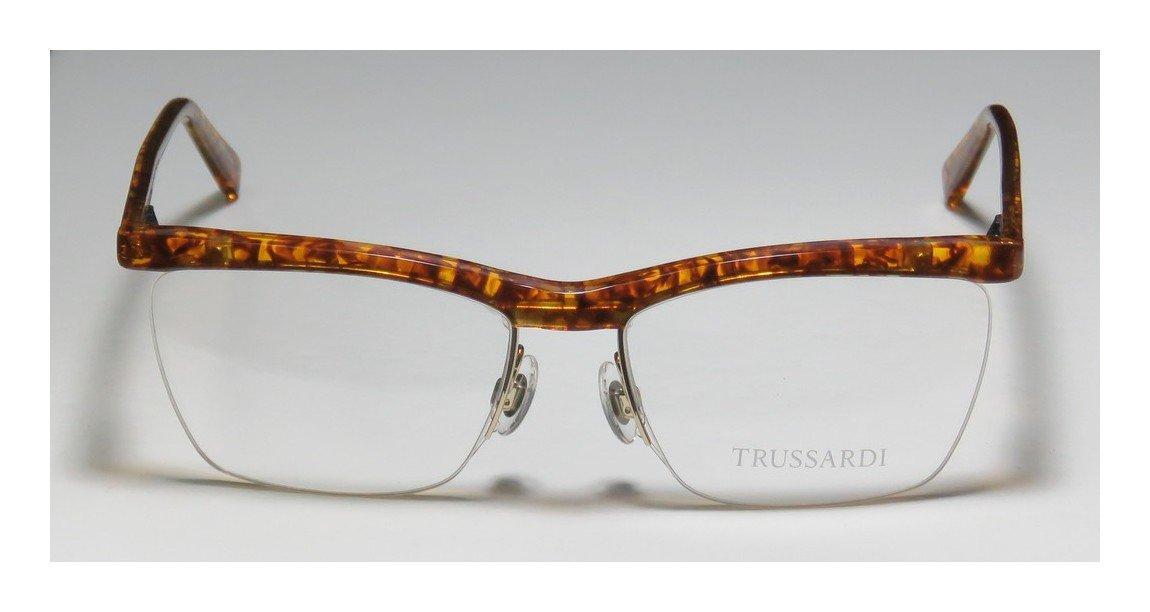Trussardi 12511 Mens/Womens Rx-able Popular Style Designer Half-rim Spring Hinges Eyeglasses/Eyewear (54-16-135, Amber Pattern / Gold)