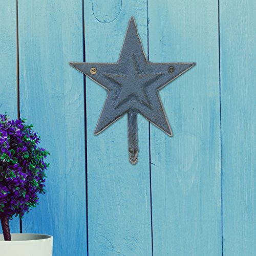 Stonebriar Rustic Cast Iron Denim Blue Star Wall Hook, Country Western Home Decor, Decorative Wall Hook for Entryway, Bathroom, Kids Bedroom, or Patio, Indoor or Outdoor
