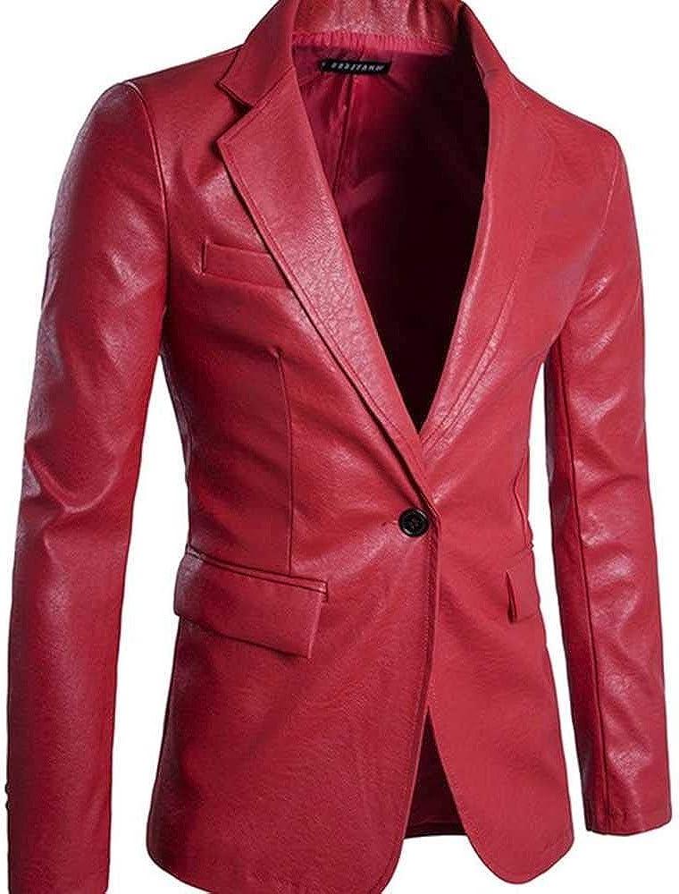 NOBRAND Chaqueta de hombre con un solo botón para hombre suave de cuero de la PU de la marca de chaquetas de la capa superior de traje de ropa