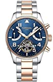 Gosasa Men Automatic Mechanical Luminous Blue Dial Rose Gold Steel Case Sapphire Glass Day Date Watch