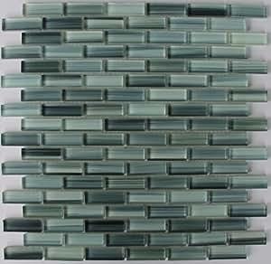 Sample - Surfz Up Aqua Blue Grey Hand Painted Glass Mosaic Subway Tiles for Bathroom Walls or Kitchen Backsplash