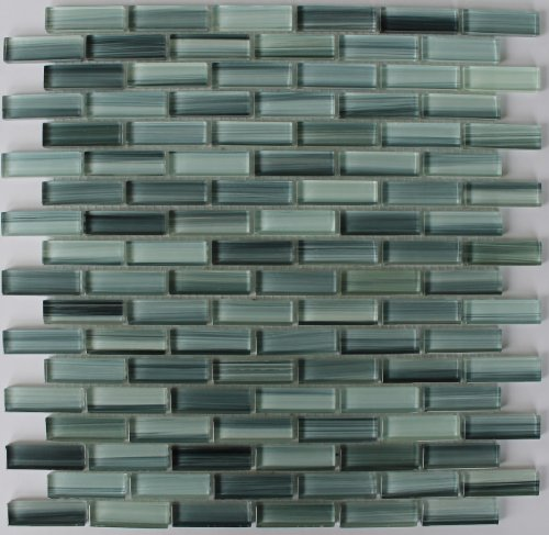 Sample - Surfz Up Aqua Blue Grey Hand Painted Glass Mosaic Subway Tiles for Bathroom Walls or Kitchen Backsplash