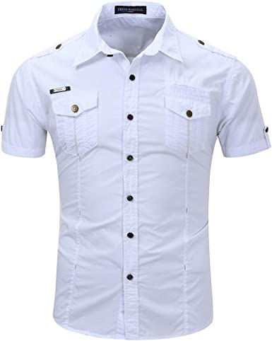 ROBO Camisa Hombre de Manga Corta con Botones Casual ...