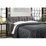Benchcraft Brindon Contemporary Sofa Sleeper - Queen Size Mattress and Throw Pillows Included - Charcoal