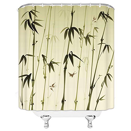 Vintage Chinese Style Ink Painting Green Bamboo Bird Beige Shower Curtains 70x70 Inch Home Waterproof Mildew Antibacterial Hanging Curtains ()