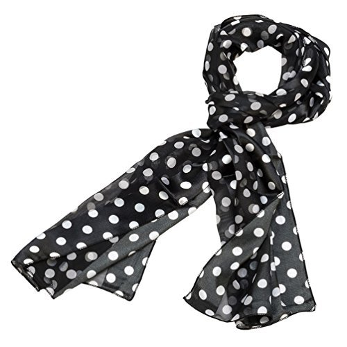 White Polka Dot Satin (White and Black Polka Dot Silk Feel Polyester Scarf)