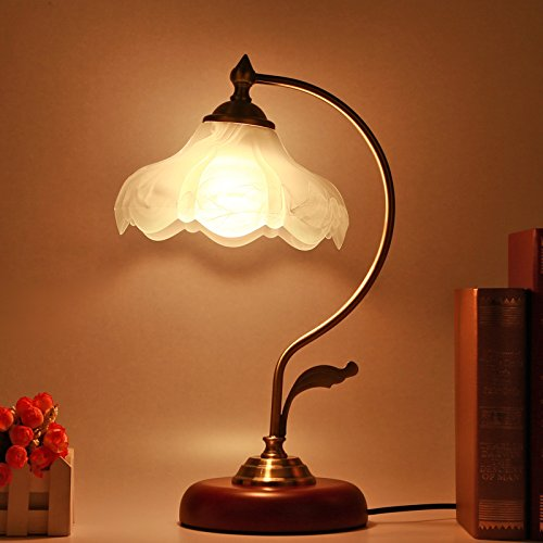 (Vintage Desk Lamp, Handmade Retro Wooden Base, Exquisite Milk White Mangnolia Bloom Shape Looking Glass Shade, Antique Style Table Lights for Office, Libirary, Bedside Nightstand, Study Room (Wood))