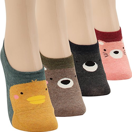WOWFOOT Women Animal Design No-Show Casual Liner Socks Character Print Non Slip Flat Boat Line 4 Pair (4pair-lovely animal)