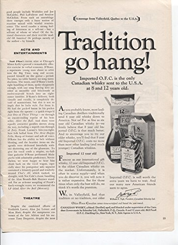 Imported O.F.C. Schenley Canadian Whiskey Tradition Go Hang! Only Canadian Whiskey Sent To The USA at 8 and 12 Years Old 1961 Vintage Antique Advertisement (Year 12 Whiskey Old)