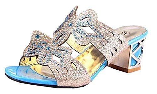 2014 neue Frauen Sandalen High Heel Sandaletten weiblichen Hausschuhe und weise Rhinestone Ausschnitt Sommerschuhe der Frauen flache Sandale Frau Pfauenblau