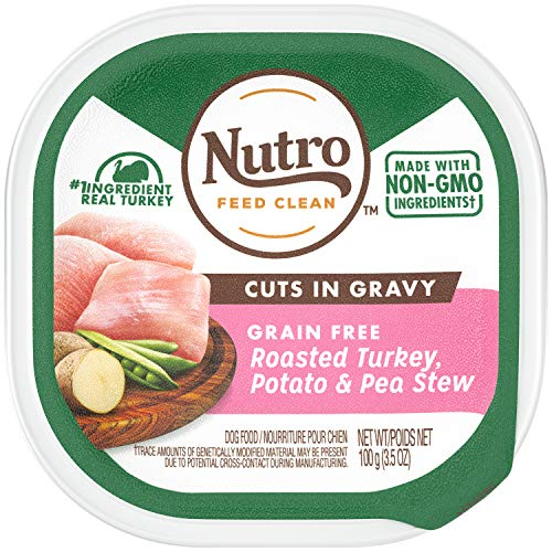 NUTRO Petite Eats Roasted Turkey & Vegetable Entrée Cuts in Gravy Adult Dog Food 3.5 Ounce Trays (Pack of 24); Recipe Rich in Nutrients and Full of Flavor, Crafted for Healthy Skin & Coat