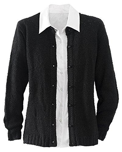 National Bouclé Cardigan Sweater, Black, X-Large -