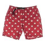 Denim & Supply Ralph Lauren Mens Printed Hiking Bermuda, Walking Shorts Red L