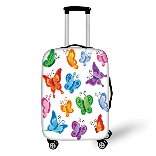 Travel Luggage Cover Suitcase Protector,Butterflies,Collection of Colorful Butterfly Print Cute Ornate Winged Animal Love Graphic Print Decorative,Multi,for Travel by iPrint