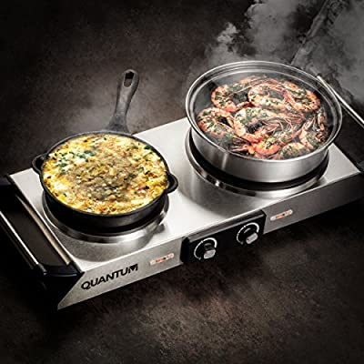 FortheChef Quantum Double Stainless Steel Countertop Electric Burner with Handles, 1800W