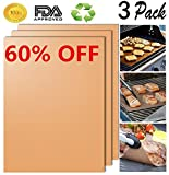 HomeLife Elements Golden Grill Mat Set of 3 - 100% Non-stick BBQ Grill & Baking Mats - FDA Approved, PFOA Free, Easy to Clean and Reusable - As Seen on TV - 1575 x 13 Inch