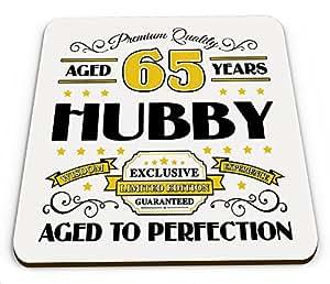 Premium calidad 65años Hubby taza brillante posavasos–dorado