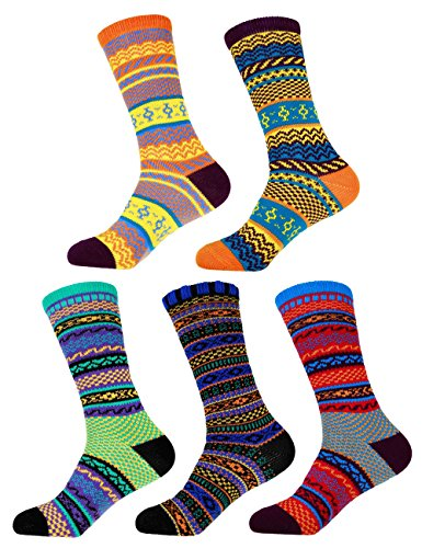 Women's Vintage Style Knitted Fashion Novelty Patterned Funky Crazy Designer Argyle Striped Dress Colorful Cotton Crew Socks - 5B-L, Size L - 5 prs