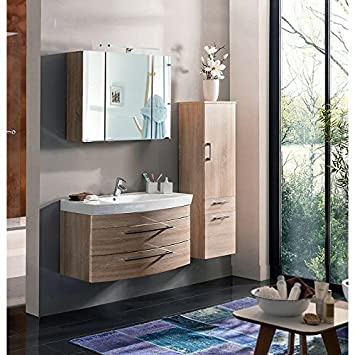 Badmobel Badezimmer Set Badezimmermobel Eiche Sonoma 100cm