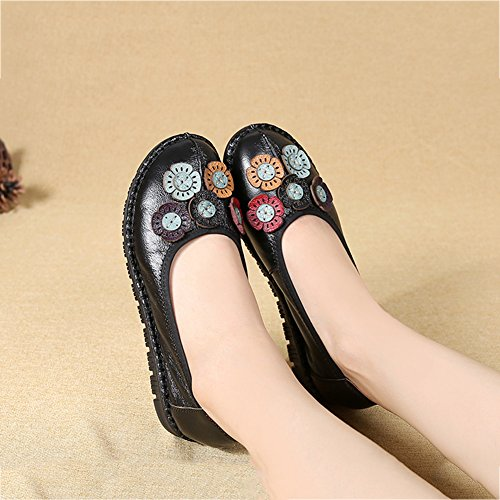 Driving Shoes Anti Flat Moccasin Comfy Flowers Loafers Skid On Work Btrada Mother Soft Shoes Slip Black Womens UAFxHWwcqR