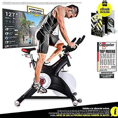 Sportstech Bicicleta estática Profesional SX500 -Marca de Calidad Alemana -Eventos en Vivo y App Multijugador, Volante de 25KG, Compatible con pulsómetro, Pedales de Click SPD, hasta 150KG, con eBook: Amazon.es: Deportes y