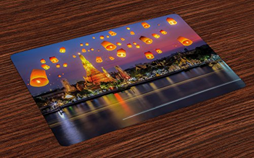Ambesonne Lantern Place Mats Set of 4, Wat Arun Temple Thailand Bangkok Coastline People Wishing Positive Asian Culture, Washable Fabric Placemats for Dining Room Kitchen Table Decor, Multicolor (Bangkok Thailand Patio)