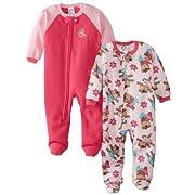 Gerber Baby-Girls Newborn 2 Pack Infant Blanket Sleepers, Monkey Ballet, 6 Months