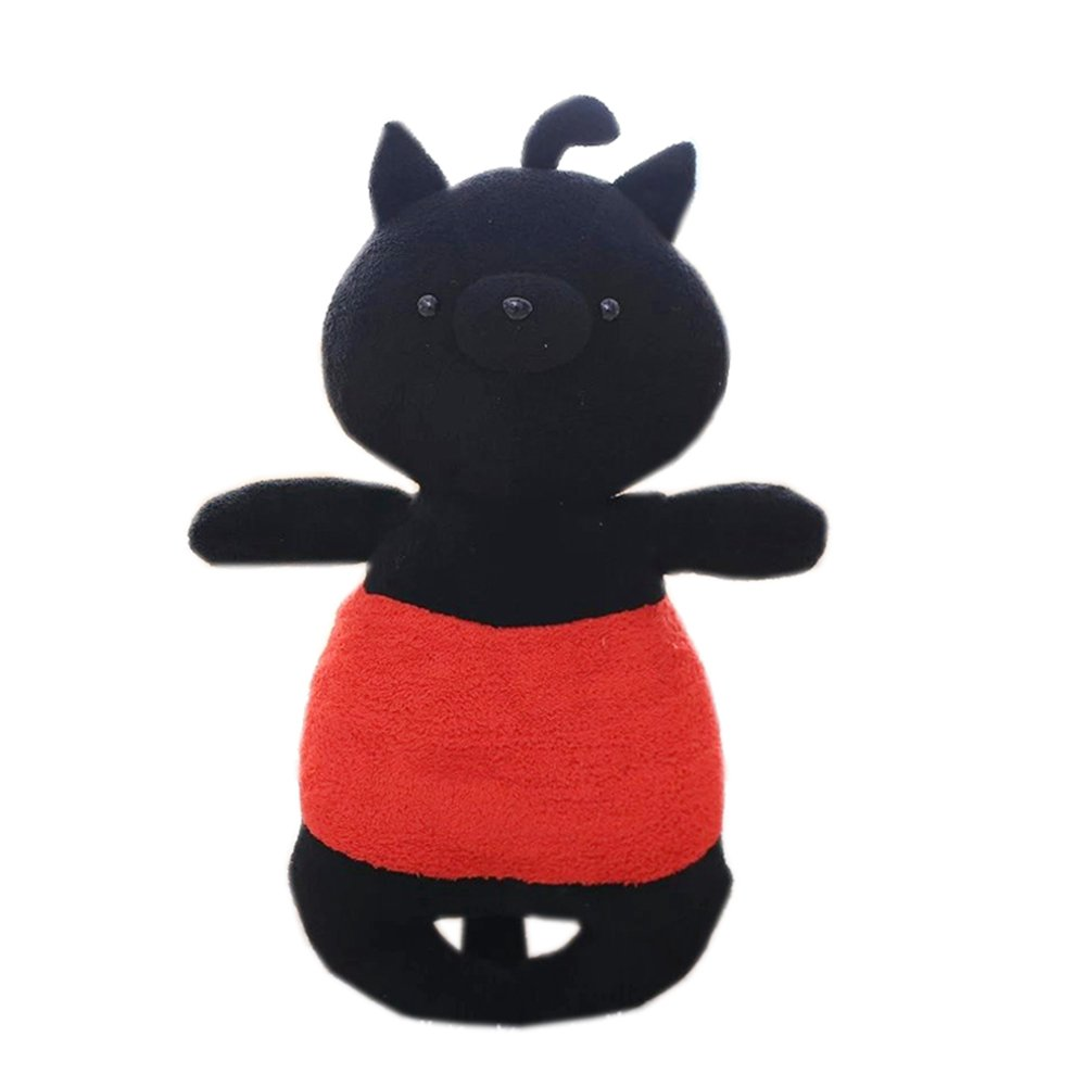 Countryside Big Face Cat Plush Toy Pillow Cute Children Creative Plush Dolls 19'' (Black)