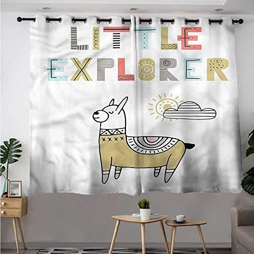 Explorer Bunk Bed Set - Fbdace Kids Doorway Curtain Colorful Llama Explorer Room Darkening Thermal W 72