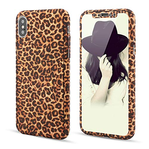 for iPhone 6 iPhone 6S Case,L-FADNUT 3in1 Stylish Leopard Cheetah Print Precise-Fit Premium PC Case and Tempered Glass Screen Protector Scratch Resistant Dual Layer Protective Case Brown