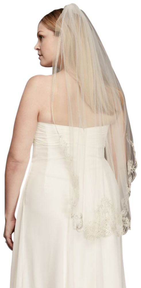 Metallic Mid Length Veil with Beaded Edge Style 314, Ivory