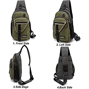 """DDDH 11.6"""" Sling Bags Crossbody Backpack,Chest Shoulder Pack Book Bag for Travel Outdoor Hiking Bike(Army Green)"""