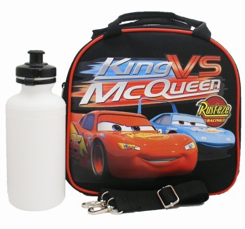 Disney Cars Insulated Lunch Bag & Water Bottle w/ Strap (Black)
