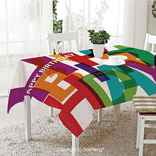 Dining Kitchen Polyester dust-Proof Table Cover,Birthday Decorations,Vibrant Letters Scattered Broken Text Puzzle Like Display Graphic,Multicolor,Rectangular,59 x 59 ()