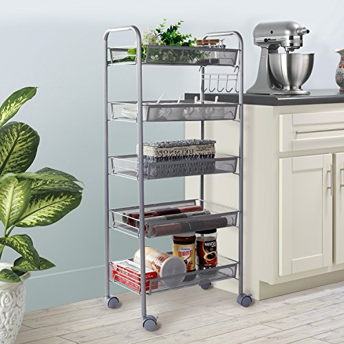 Lifewit 5 Tier Metal Mesh Storage Rolling Cart Shelving Unit/Wire Rack on Wheels with Hooks
