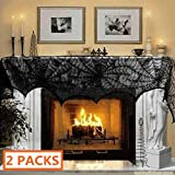 "Luditek [2-Pack] Halloween Decorations Halloween Fireplace Decor Spiderweb Mantle Scarf Cover Festival Party Supplies 18"" x 96"" Indoor Outdoor"