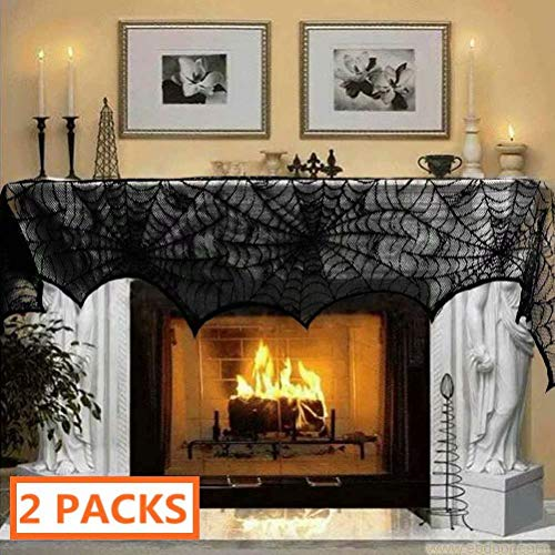"Luditek [2-Pack] Halloween Decorations Halloween Fireplace Decor Spiderweb Mantle Scarf Cover Festival Party Supplies 18"" x 96"" Indoor Outdoor by Luditek"