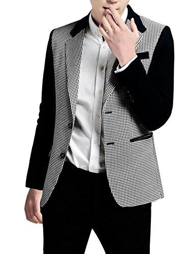 uxcell Men Notched Lapel Houndstooth Pattern Split Side Casual Jacket Medium Black