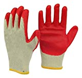 Safety Grip Protection Gloves Economical String Knit Latex Dipped Palm Gloves, Nitrile Coated Work Gloves for General Purpose, One Size, Red (600)