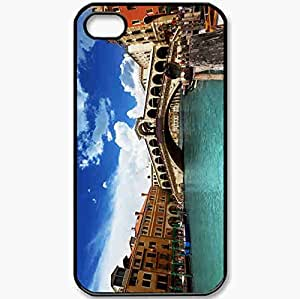 Protective Case Back Cover For iPhone 4 4S Case Venice Italy Ponte Di Rialto Canal Grande Venice Italy Black