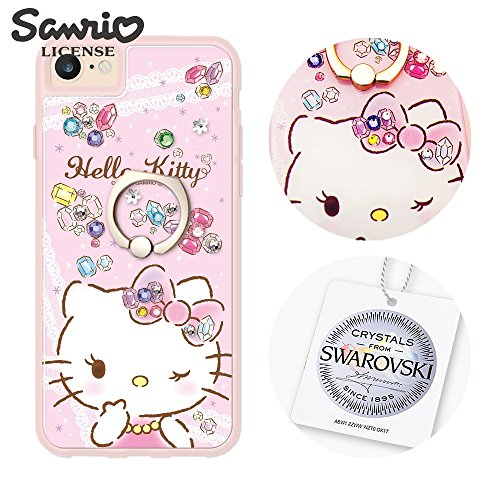 apbs Sanrio Hello Kitty Shockproof case for iPhone Series,crystal from SWAROVSKI,Flexible TPU Bumper Edge & Rigid PC Back Panel Cover with ring stand(Ring Stand Grip)-Gemstone Kitty (iPhone8/7/6s/6) by apbs