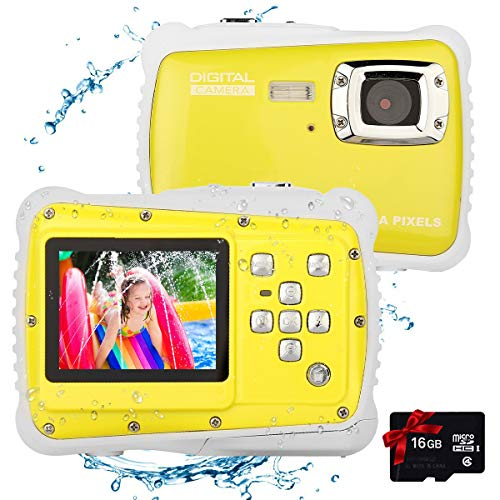 Kids Waterproof Camera Digital Camera for 4-10 Years Old Children, 12MP HD Underwater Action Camera Camcorder with 8X Digital Zoom, 2.0 Inch LCD Display, 16G Micro SD Card - Easy to Use (Yellow)