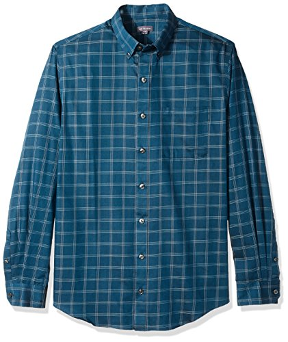 Van Heusen Men's Big and Tall Traveler Button Down Long Sleeve Stretch Blue/White Shirt, Turquoise Seabed Plaid, 2X-Large